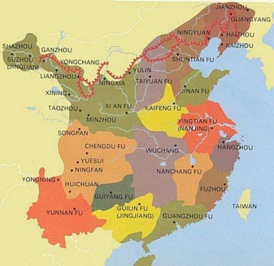 Ming Dynasty Geography - Map of the Chinese Ming Dynasty on